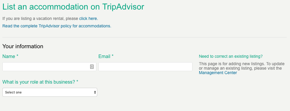 TripAdvisor for Business Listing