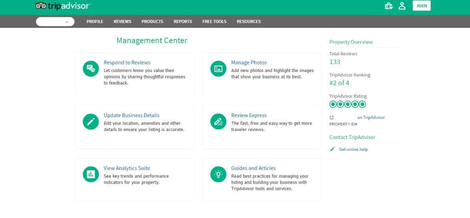 TripAdvisor for Business Management Center
