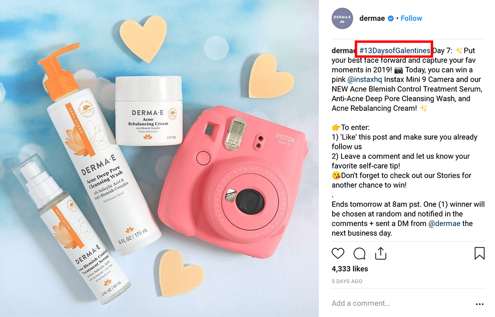 hashtag giveaway instagram