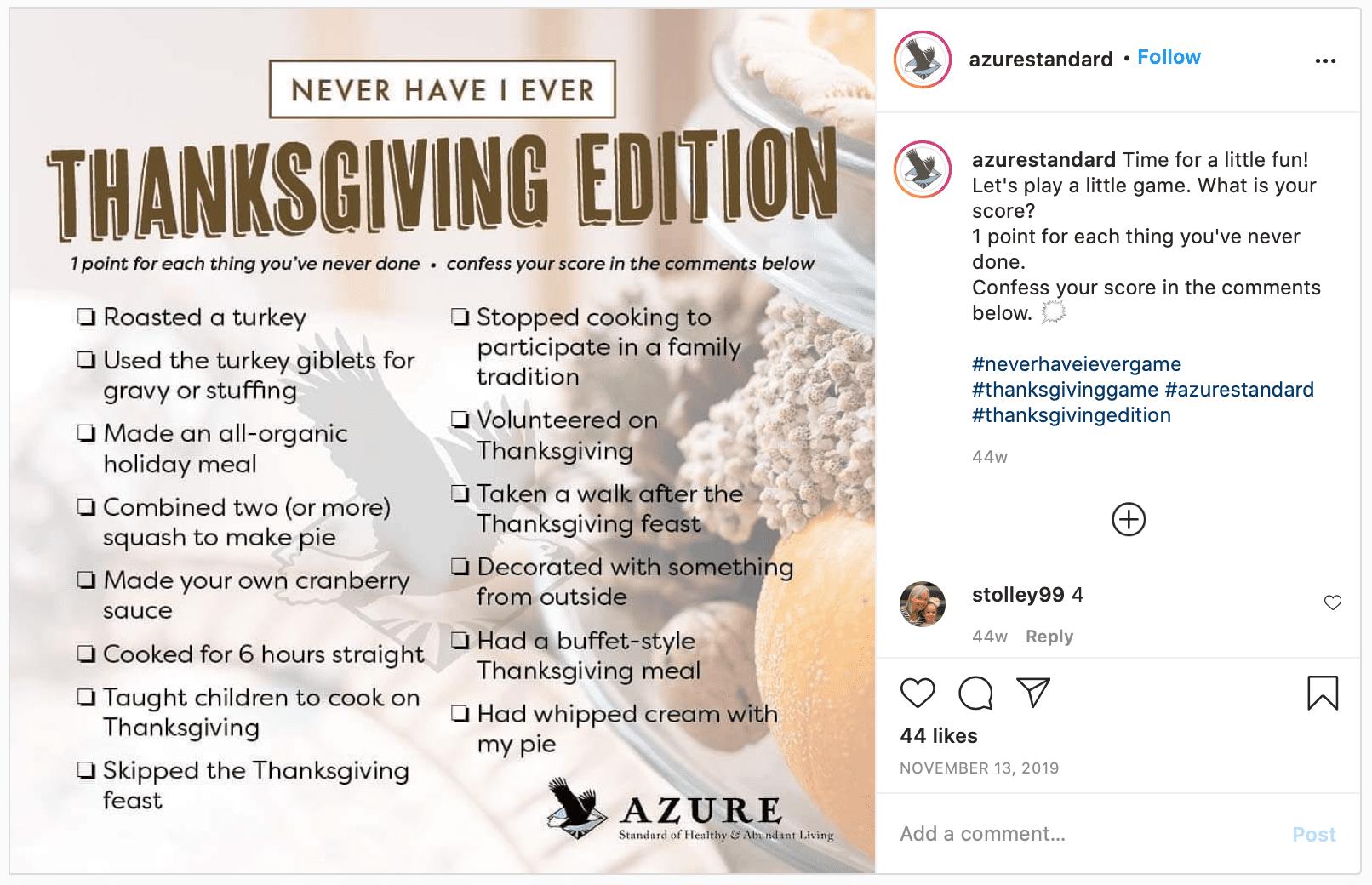 thanksgiving marketing challenge game