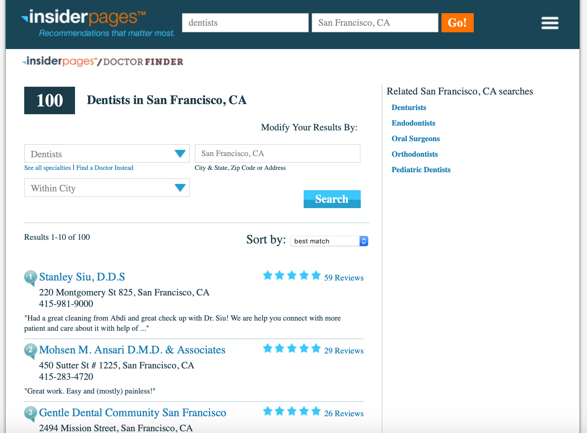 business listing websites in the USA insider pages
