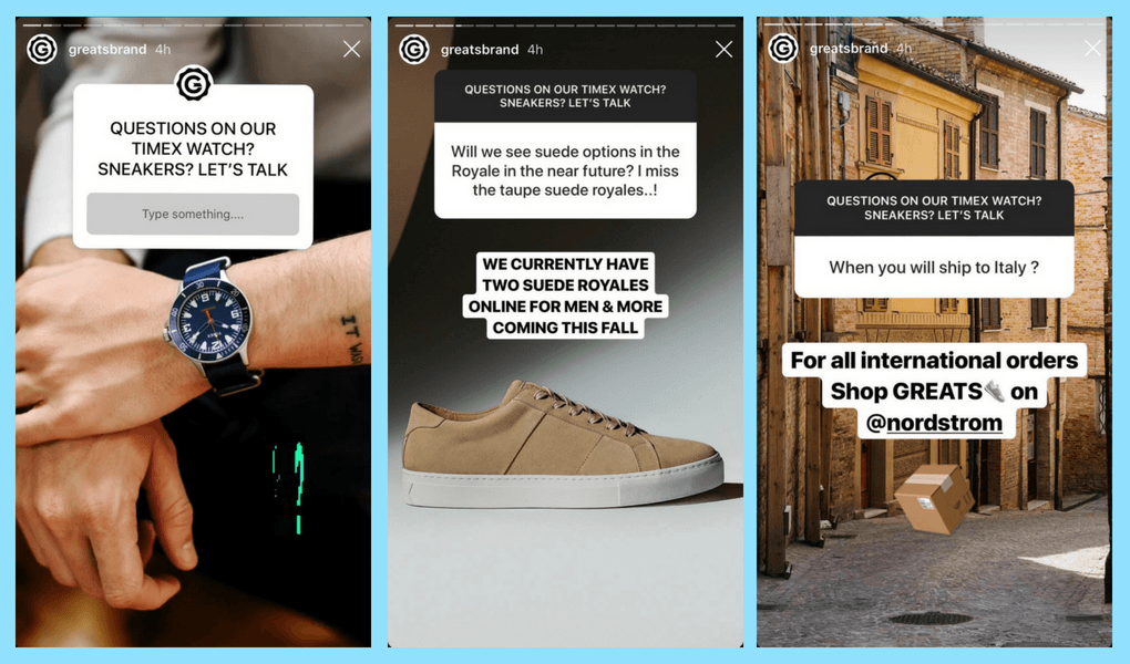Instagram Stories for Businesses answer questions from your audience