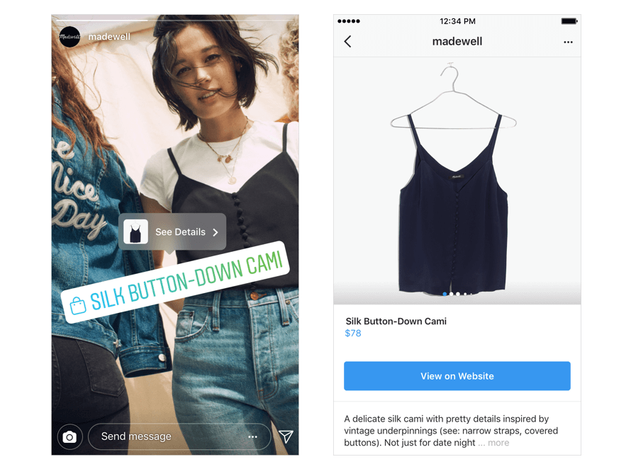 Instagram Stories for Businesses shoppable pins