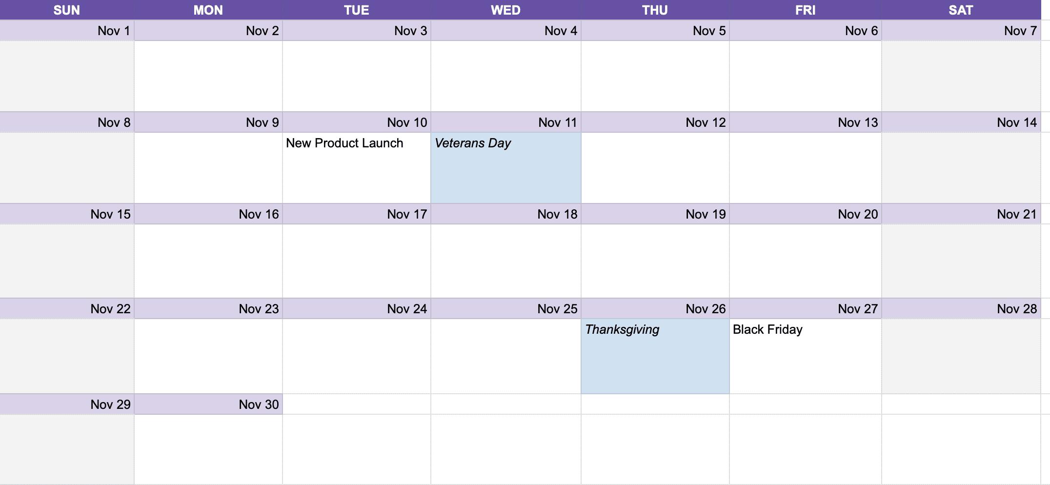 social media content calendar example how to plan your social media content at once