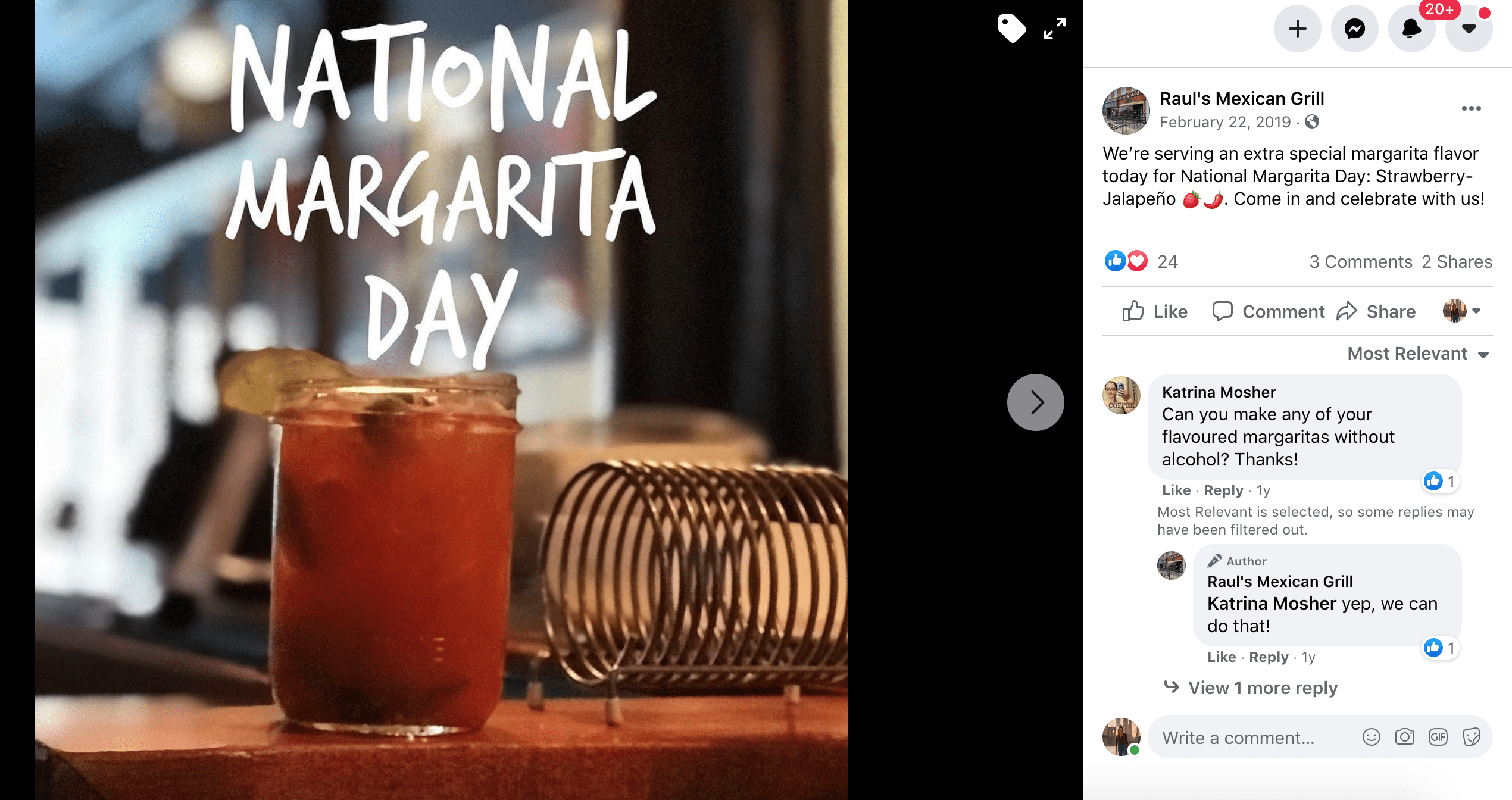 february social media calendar margarita day