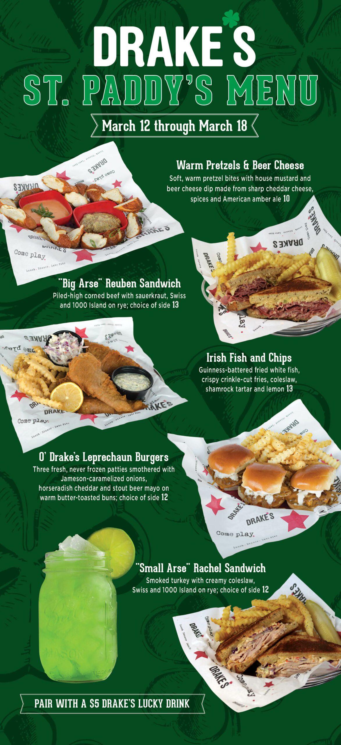 Social Media Post Ideas for St. Patrick's Day menu