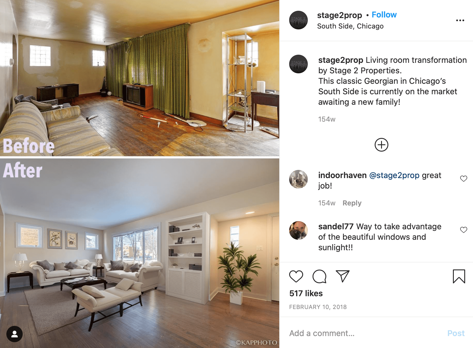 real estate instagram accounts before and after