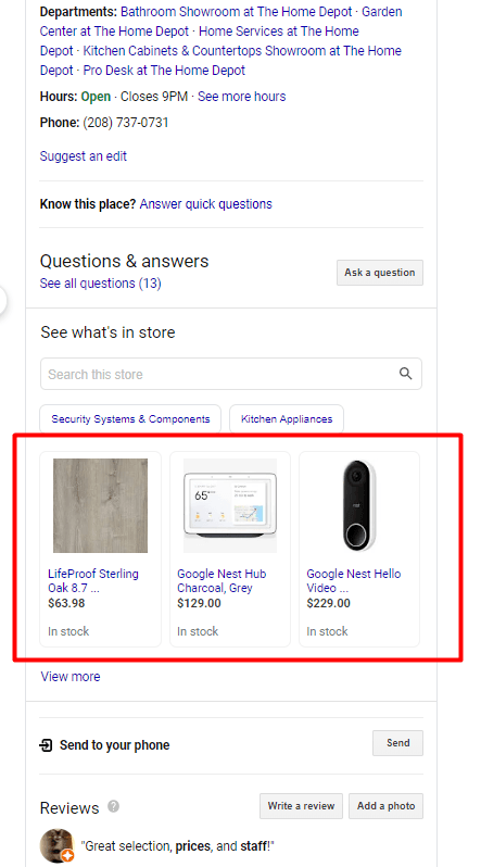 Google My Business Posts products